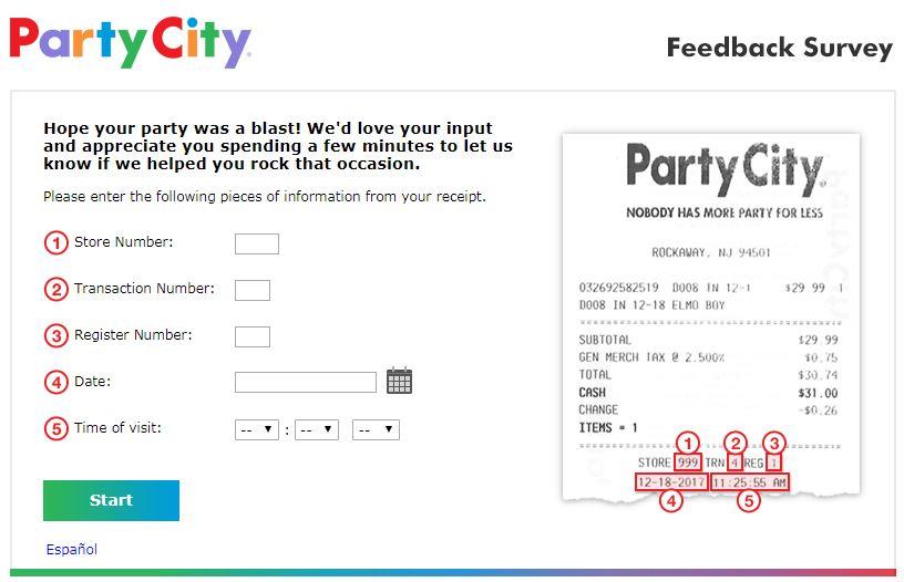 www.partycityfeedback.com homepage