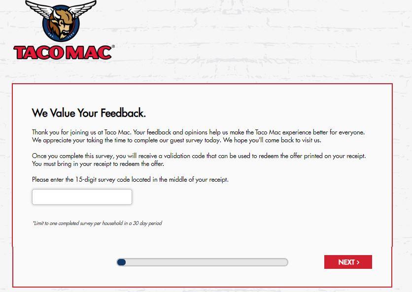 www.tacomaclistens.com survey homepage