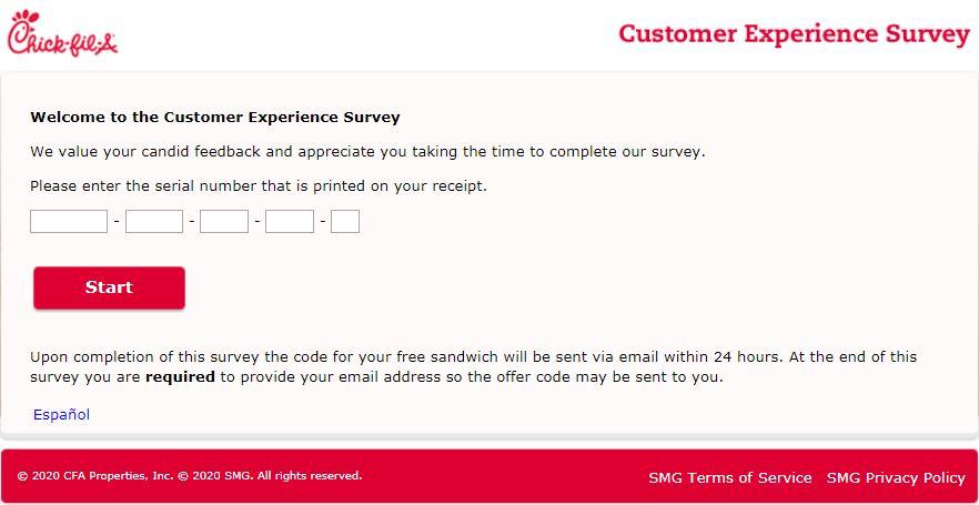 www.mycfavisit.com survey homepage
