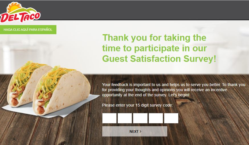 del taco survey homepage