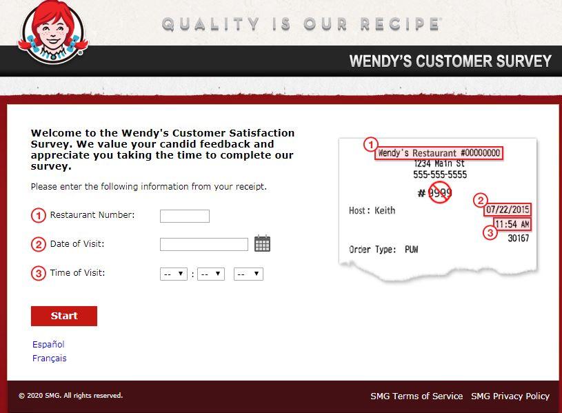 TalkToWendys Survey Homepage