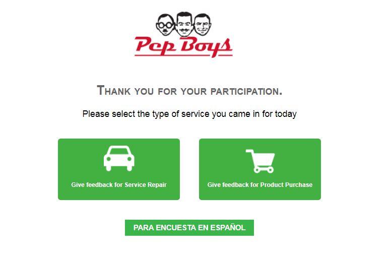 www.pepboyssurvey.co Homepage